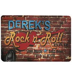Personalized Rock and Roll Bar Theme Doormat