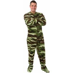 Green Camo Fleece Adult Footed Pajamas