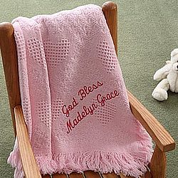Personalized Baby Love Fringe Blanket - Blush Pink