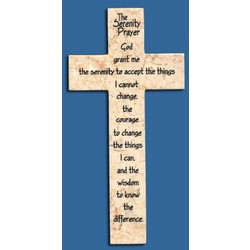 Serenity Prayer Jerusalem Stone Wall Cross