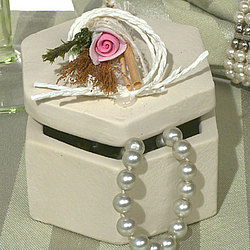 Hexagon Pink Rose Jewelry Box