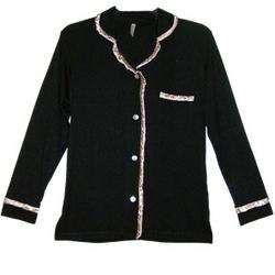 Sophie Black Womens Lounge Shirt Pajama Top