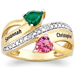 Couples Two-Tone Name and Birthstone Hearts Ring