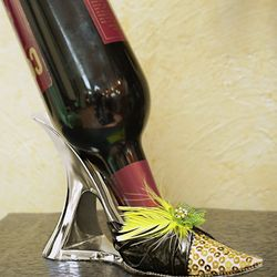Gold Sequined Metal Wine Bottle Holder