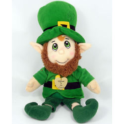 Plush Stuffed Leprechaun with Lucky Heart Charm