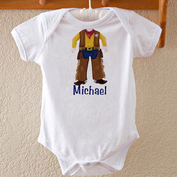 Personalized Cowboy or Baseball Player Baby Bodysuit