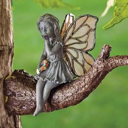 Weather-Resistant Kissing Fairy On Tree Branch