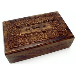Wood Trinket Box with Celtic Design