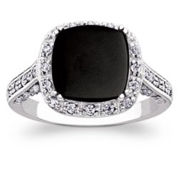 Sterling Silver Cushion-Cut Onyx and Cubic Zirconia Surround Ring