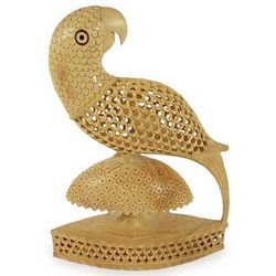 Perky Parrot Wood Statuette