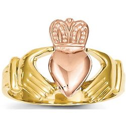 14k Mens Two-Tone Gold Claddagh Ring