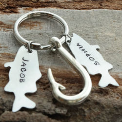 Daddys Catch Personalized Fish Hook Key Chain