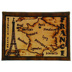 France Map Leather Photo Album in Natural