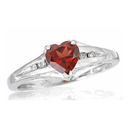 14 kt Heart Shaped Garnet and Diamond Ring