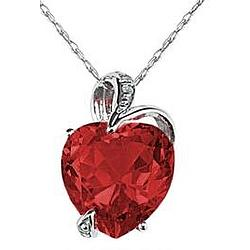 Garnet Heart and Diamond Pendant in 14K White Gold