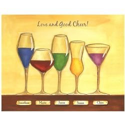 Cheers to Friendship Wineglasses V Personalized Artwork