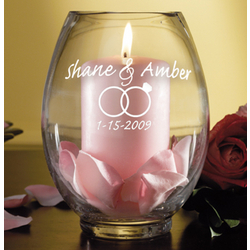 Personalized Wedding Hurricane Candle Holder
