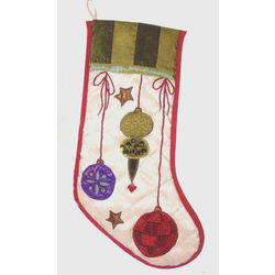 Holiday Cheer Festive Colorful Satin Ornaments Christmas Stocking
