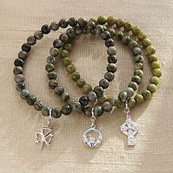 Connemara Marble And Silver Irish Charm Bracelets