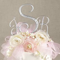 Silver Initial Cake Topper