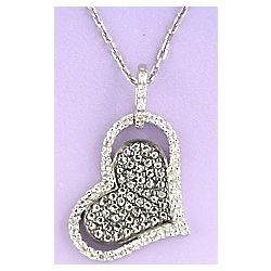 Diamond and White Topaz Double Heart Necklace