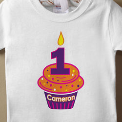 Birthday Cupcake Personalized Baby T-Shirt