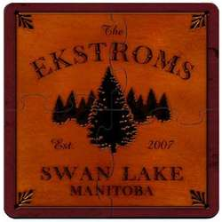 Personalized Spruce Woods Cabin Coaster Puzzle