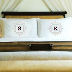 Brown Initial Motif Couples' Personalized Pillowcases