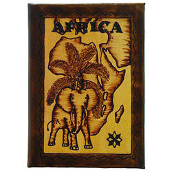 Africa Map Leather Photo Album in Natural