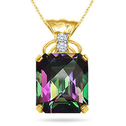 Diamond & Mystic Topaz Pendant
