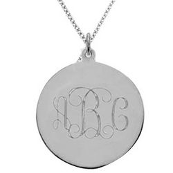 Sterling Silver Monogram Disk Pendant with Chain