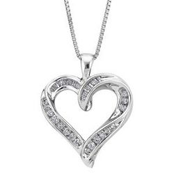 Sterling Silver Baguette Diamond Heart Pendant