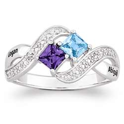 Sterling Silver Couple's Princess-Cut Birthstone Ring
