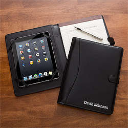 Personalized Black Leather iPad Portfolio