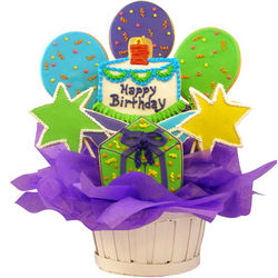 Happy Birthday Balloons and Stars Sugar Cookie Basket