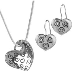 Sterling Silver Swirling Heart Necklace and Earrings Set