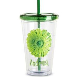 Personalized On the Go Green Flower Tumbler