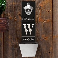 Personalized Wall Mounted Bottle Opener with Catcher