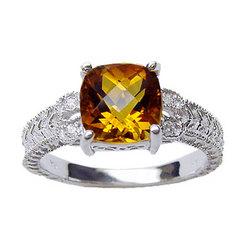 Citrine & Diamond Antique Filigree Ring