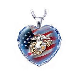 USMC Crystal Heart Pendant Necklace
