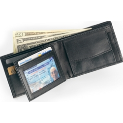 Black Leather Bifold with Button Flap Coin Pocket