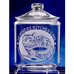 Personalized Cat and Coffee Cup Etched Glass Cookie Jar