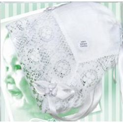Shamrock Lace Trim White Baptism Hanky Bonnet