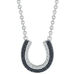 Sterling Silver Black and White Diamond Horseshoe Necklace