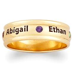 Family Name and Birthstone Personalized Ring
