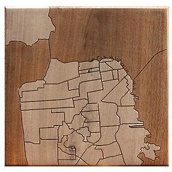 San Francisco Historic Neighborhood Wooden Map