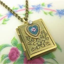 Antiqued Replica Brass Book Locket Necklace