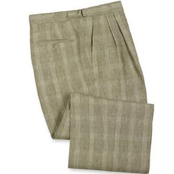 Plaid Linen Pleated D-Ring Trousers