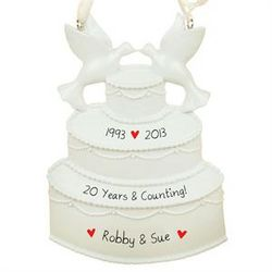 Personalized Wedding Anniversary Cake Ornament with Doves