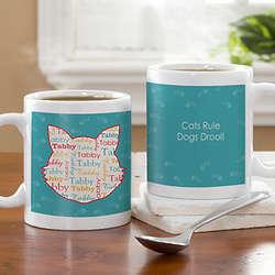 I Love My Cat Personalized Coffee Mug